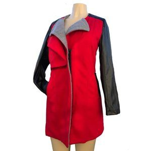 Jackets & Blazers - Posh Red, Black and Grey Faux Leather Coat